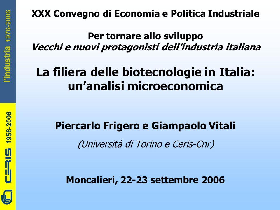 CERIS-CNR 1956-2006 1976-2006 l'industria La filiera delle biotecnologie in Italia: un'analisi microeconomica Piercarlo Frigero e Giampaolo Vitali (Un