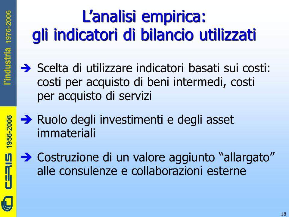 CERIS-CNR 1956-2006 1976-2006 l'industria 18 L'analisi empirica: gli indicatori di bilancio utilizzati  Scelta di utilizzare indicatori basati sui co