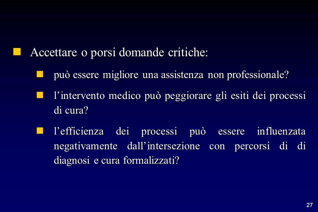 27 nAccettare o porsi domande critiche: npuò essere migliore una assistenza non professionale.