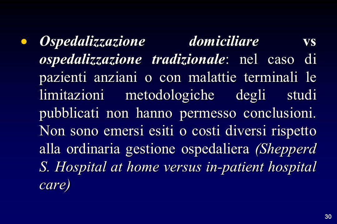 30  Ospedalizzazione domiciliare vs ospedalizzazione tradizionale: nel caso di pazienti anziani o con malattie terminali le limitazioni metodologiche degli studi pubblicati non hanno permesso conclusioni.