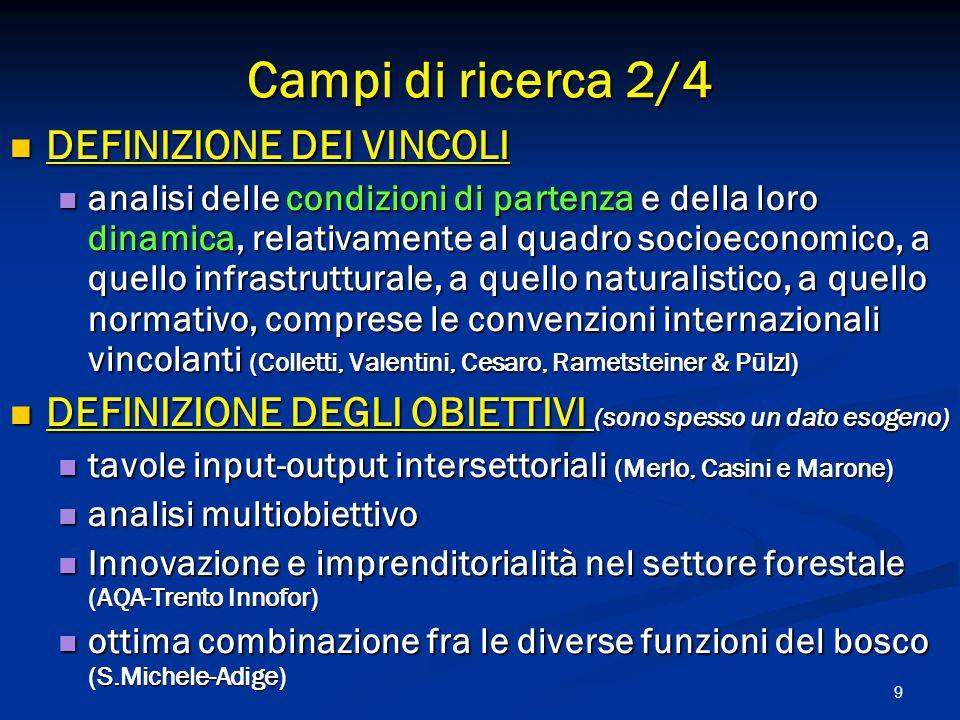 9 DEFINIZIONE DEI VINCOLI DEFINIZIONE DEI VINCOLI analisi delle condizioni di partenza e della loro dinamica, relativamente al quadro socioeconomico, a quello infrastrutturale, a quello naturalistico, a quello normativo, comprese le convenzioni internazionali vincolanti (Colletti, Valentini, Cesaro, Rametsteiner & Pülzl) analisi delle condizioni di partenza e della loro dinamica, relativamente al quadro socioeconomico, a quello infrastrutturale, a quello naturalistico, a quello normativo, comprese le convenzioni internazionali vincolanti (Colletti, Valentini, Cesaro, Rametsteiner & Pülzl) DEFINIZIONE DEGLI OBIETTIVI (sono spesso un dato esogeno) DEFINIZIONE DEGLI OBIETTIVI (sono spesso un dato esogeno) tavole input-output intersettoriali (Merlo, Casini e Marone) tavole input-output intersettoriali (Merlo, Casini e Marone) analisi multiobiettivo analisi multiobiettivo Innovazione e imprenditorialità nel settore forestale (AQA-Trento Innofor) Innovazione e imprenditorialità nel settore forestale (AQA-Trento Innofor) ottima combinazione fra le diverse funzioni del bosco (S.Michele-Adige) ottima combinazione fra le diverse funzioni del bosco (S.Michele-Adige) Campi di ricerca 2/4