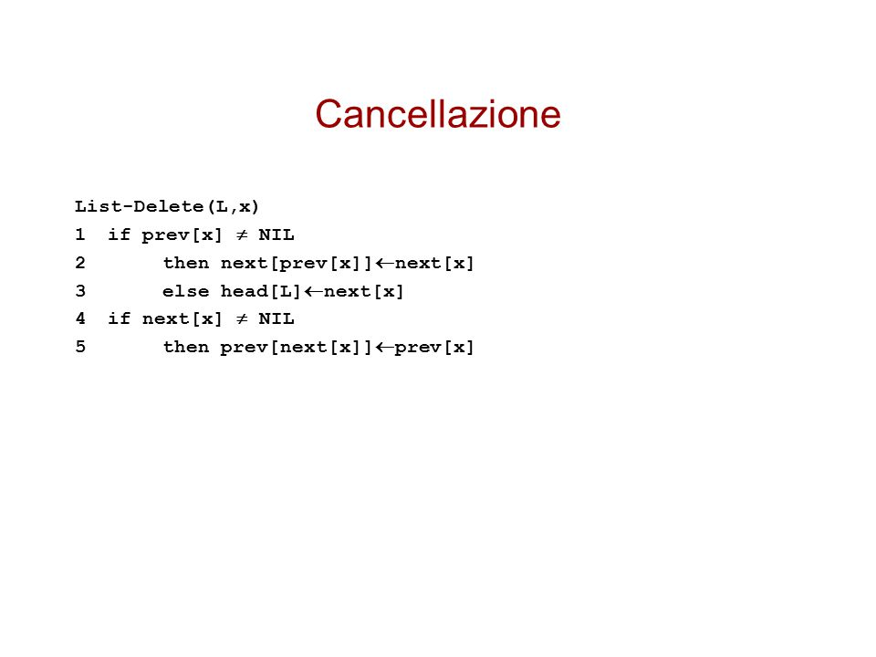Cancellazione List-Delete(L,x) 1if prev[x]  NIL 2then next[prev[x]]  next[x] 3else head[L]  next[x] 4if next[x]  NIL 5then prev[next[x]]  prev[x]
