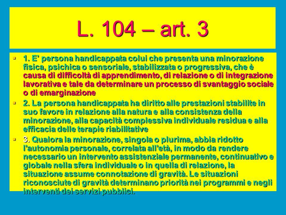 L. 104 – art. 3  1. E' persona handicappata colui che presenta una minorazione fisica, psichica o sensoriale, stabilizzata o progressiva, che è causa