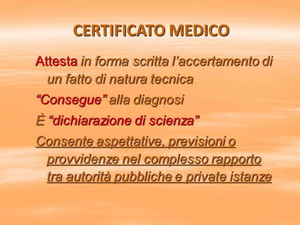 """CERTIFICATO MEDICO Attesta in forma scritta l'accertamento di un fatto di natura tecnica """"Consegue"""" alla diagnosi È """"dichiarazione di scienza"""" Consent"""