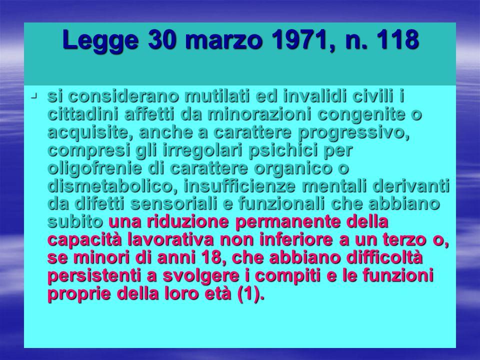Legge 30 marzo 1971, n. 118  si considerano mutilati ed invalidi civili i cittadini affetti da minorazioni congenite o acquisite, anche a carattere p