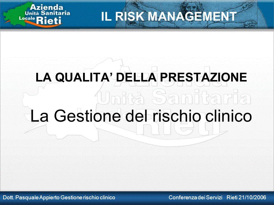 IL RISK MANAGEMENT Dott. Pasquale Appierto Gestione rischio clinico Conferenza dei Servizi Rieti 21/10/2006 LA QUALITA' DELLA PRESTAZIONE La Gestione