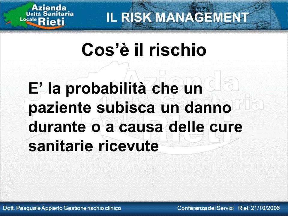 IL RISK MANAGEMENT Dott. Pasquale Appierto Gestione rischio clinico Conferenza dei Servizi Rieti 21/10/2006 Cos'è il rischio E' la probabilità che un