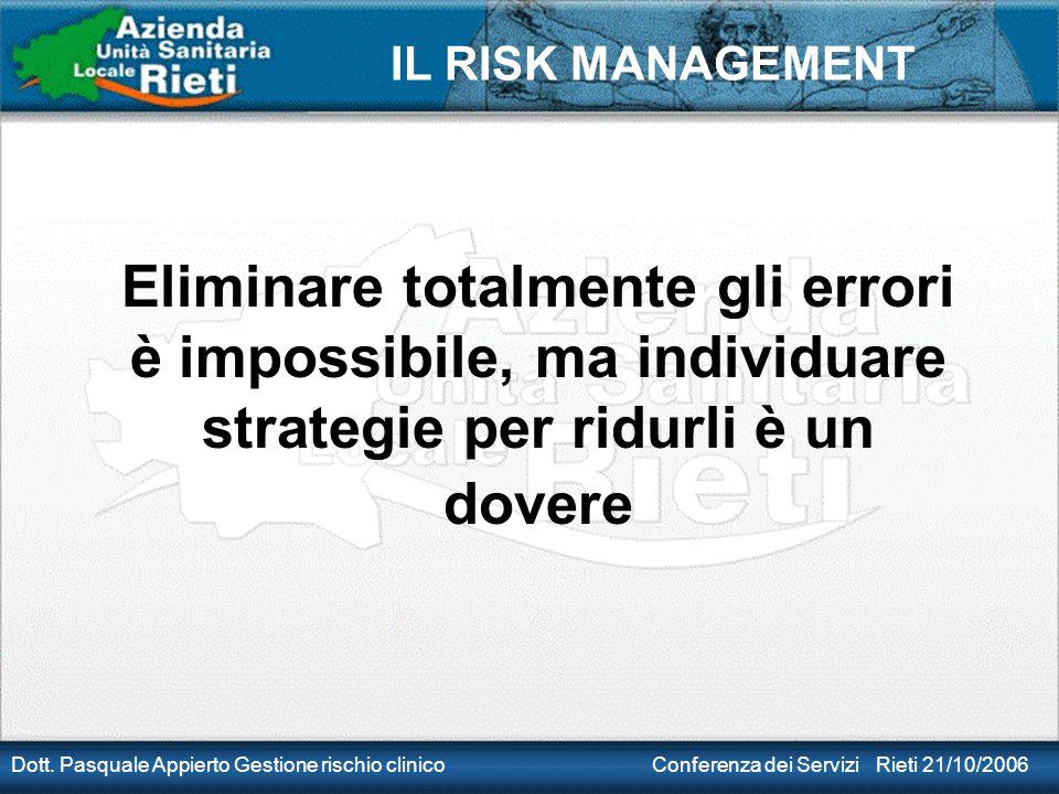 IL RISK MANAGEMENT Dott. Pasquale Appierto Gestione rischio clinico Conferenza dei Servizi Rieti 21/10/2006 Eliminare totalmente gli errori è impossib