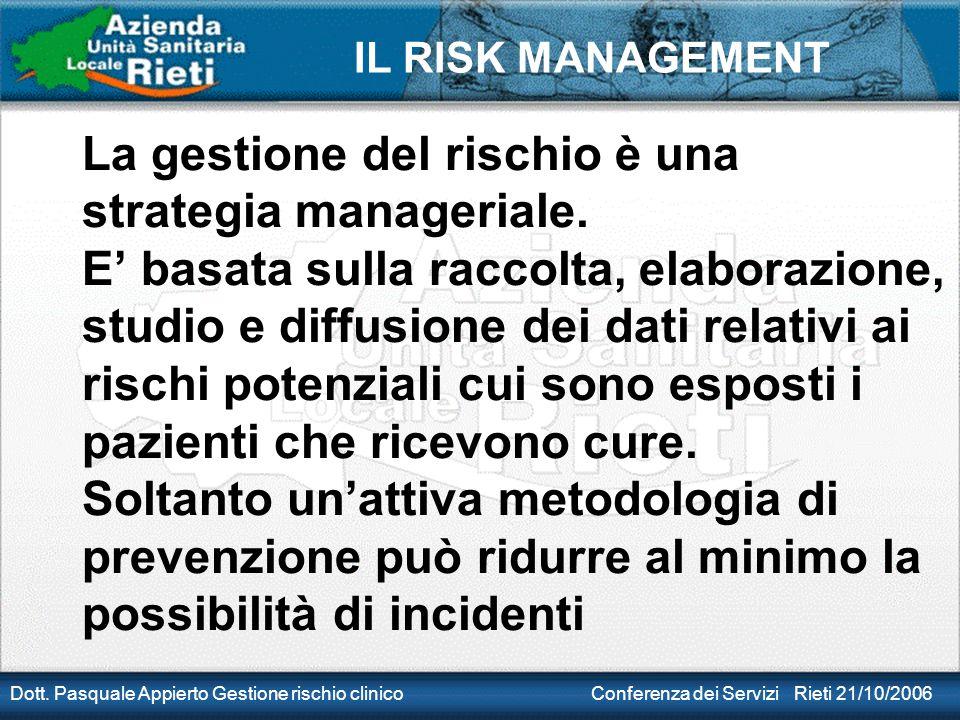 IL RISK MANAGEMENT Dott. Pasquale Appierto Gestione rischio clinico Conferenza dei Servizi Rieti 21/10/2006 La gestione del rischio è una strategia ma