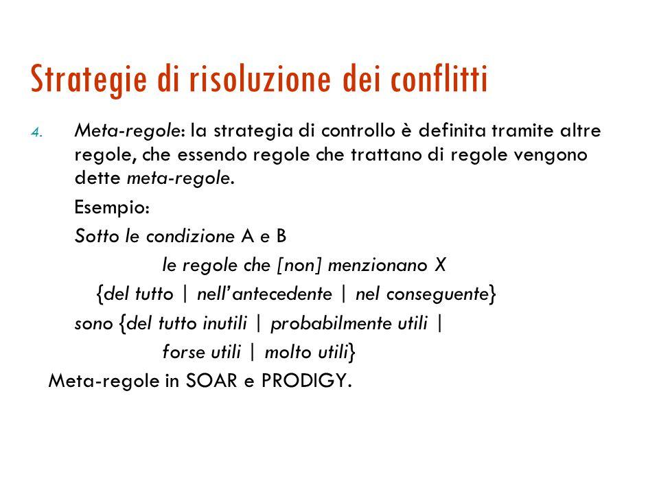 Strategie di risoluzione dei conflitti 3. Basate sull'effetto delle regole: si applica una funzione di valutazione agli stati risultanti e si sceglie