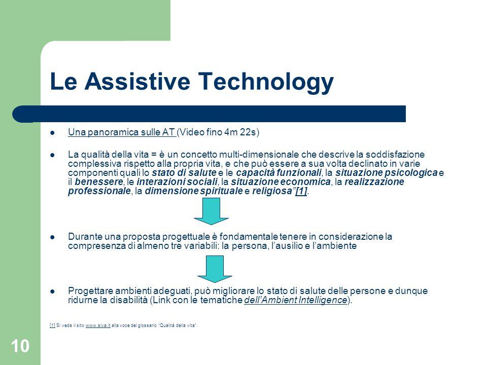 10 Le Assistive Technology Una panoramica sulle AT (Video fino 4m 22s) Una panoramica sulle AT La qualità della vita = è un concetto multi-dimensional
