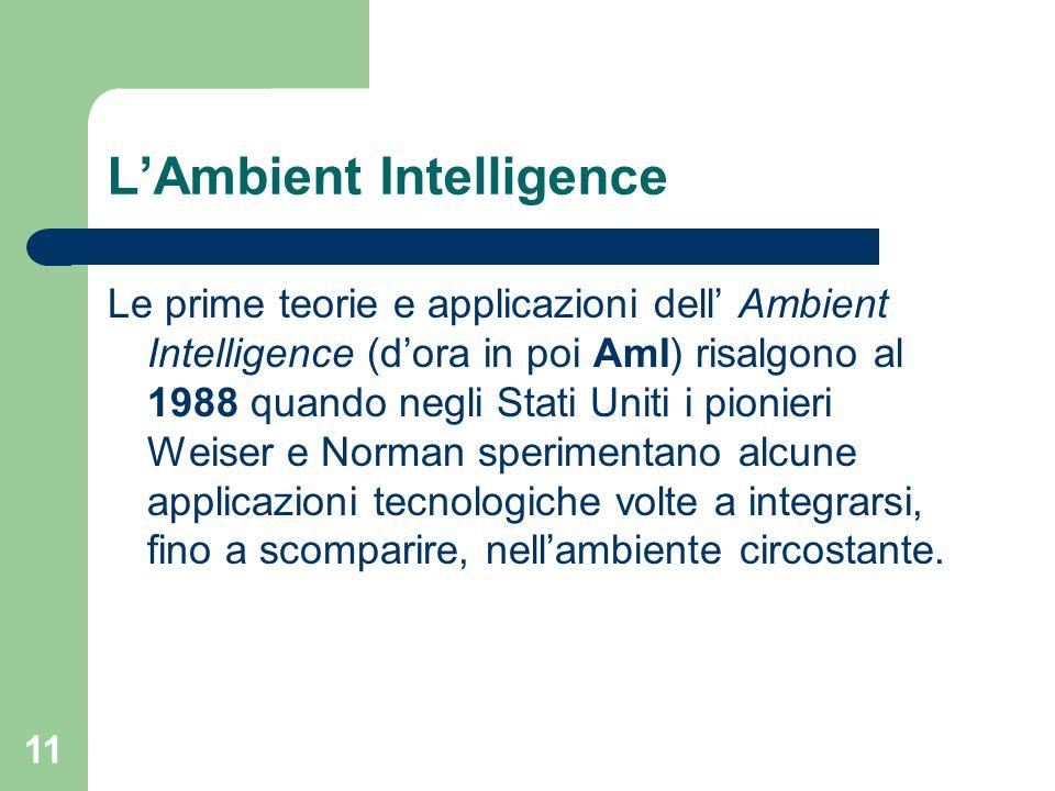 11 L'Ambient Intelligence Le prime teorie e applicazioni dell' Ambient Intelligence (d'ora in poi AmI) risalgono al 1988 quando negli Stati Uniti i pionieri Weiser e Norman sperimentano alcune applicazioni tecnologiche volte a integrarsi, fino a scomparire, nell'ambiente circostante.