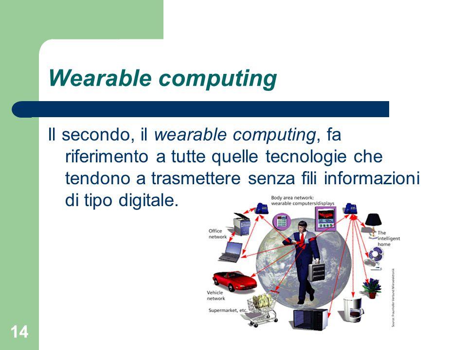 14 Wearable computing Il secondo, il wearable computing, fa riferimento a tutte quelle tecnologie che tendono a trasmettere senza fili informazioni di