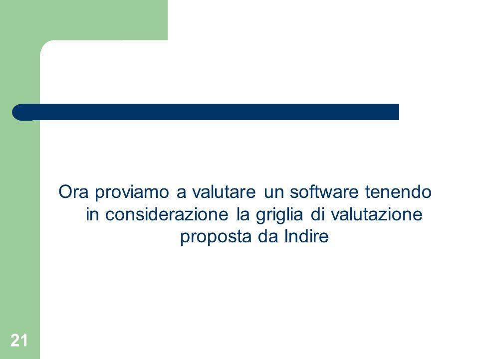 21 Ora proviamo a valutare un software tenendo in considerazione la griglia di valutazione proposta da Indire