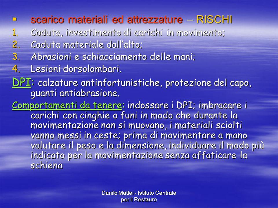 Danilo Mattei - Istituto Centrale per il Restauro  scarico materiali ed attrezzature – RISCHI 1.Caduta, investimento di carichi in movimento; 2.Cadut