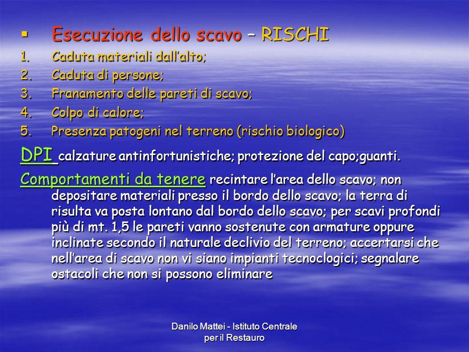 Danilo Mattei - Istituto Centrale per il Restauro  Esecuzione dello scavo – RISCHI 1.Caduta materiali dall'alto; 2.Caduta di persone; 3.Franamento de