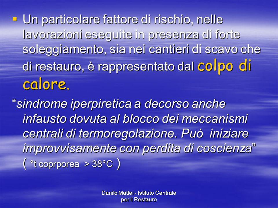Danilo Mattei - Istituto Centrale per il Restauro  Un particolare fattore di rischio, nelle lavorazioni eseguite in presenza di forte soleggiamento,
