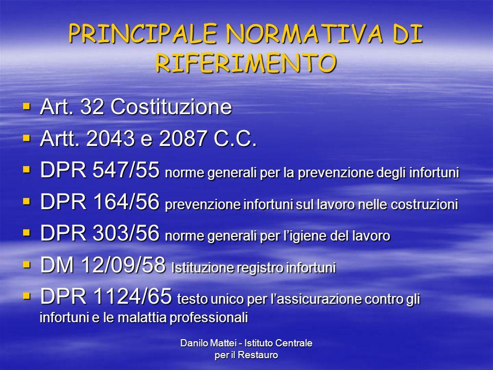 Danilo Mattei - Istituto Centrale per il Restauro PRINCIPALE NORMATIVA DI RIFERIMENTO  Art. 32 Costituzione  Artt. 2043 e 2087 C.C.  DPR 547/55 nor