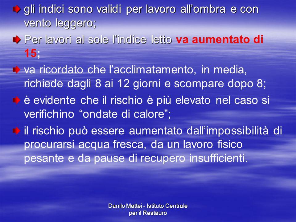 Danilo Mattei - Istituto Centrale per il Restauro gli indici sono validi per lavoro all'ombra e con vento leggero; Per lavori al sole l'indice letto P
