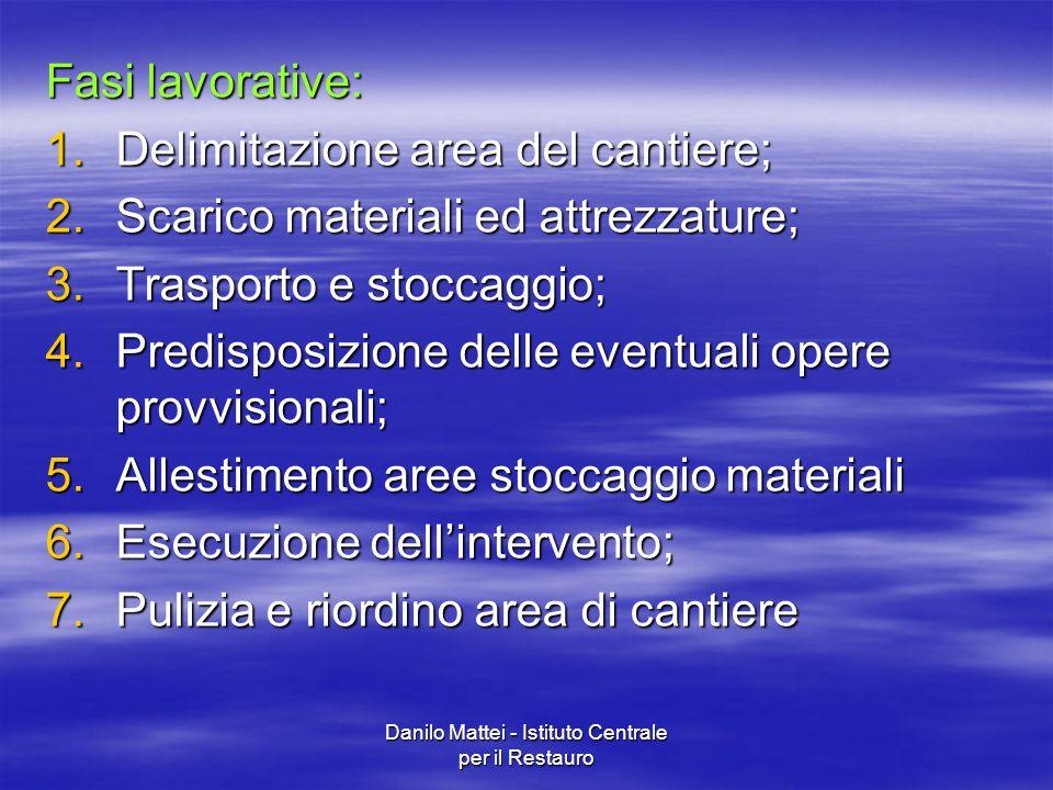 Danilo Mattei - Istituto Centrale per il Restauro Fasi lavorative: 1.Delimitazione area del cantiere; 2.Scarico materiali ed attrezzature; 3.Trasporto