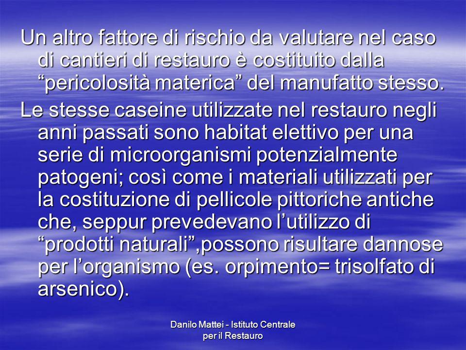 """Danilo Mattei - Istituto Centrale per il Restauro Un altro fattore di rischio da valutare nel caso di cantieri di restauro è costituito dalla """"pericol"""