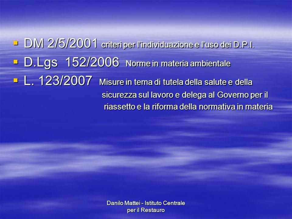 Danilo Mattei - Istituto Centrale per il Restauro  DM 2/5/2001 criteri per l'individuazione e l'uso dei D.P.I.  D.Lgs 152/2006 Norme in materia ambi
