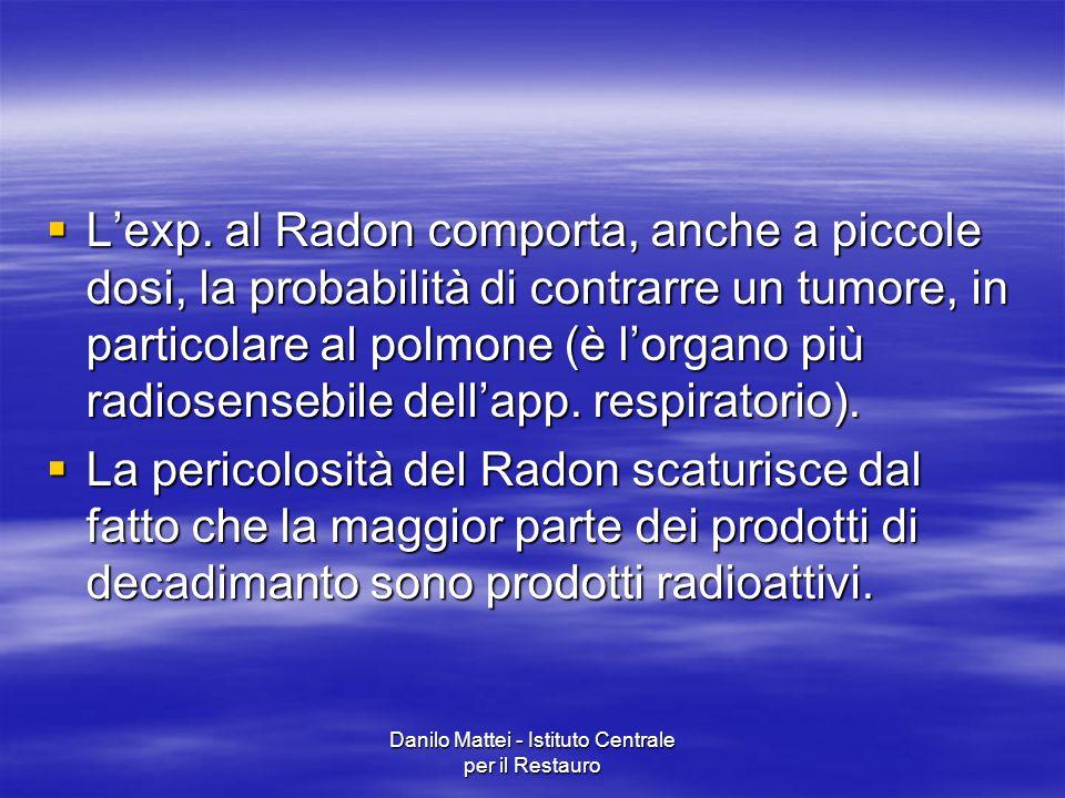  L'exp. al Radon comporta, anche a piccole dosi, la probabilità di contrarre un tumore, in particolare al polmone (è l'organo più radiosensebile dell