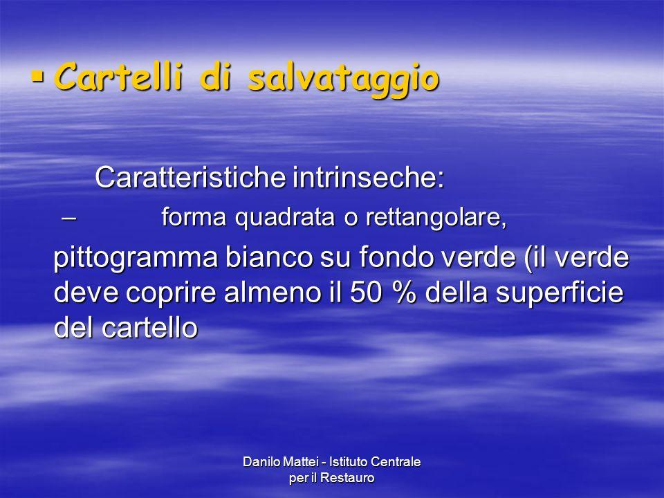 Danilo Mattei - Istituto Centrale per il Restauro  Cartelli di salvataggio Caratteristiche intrinseche: Caratteristiche intrinseche: – forma quadrata