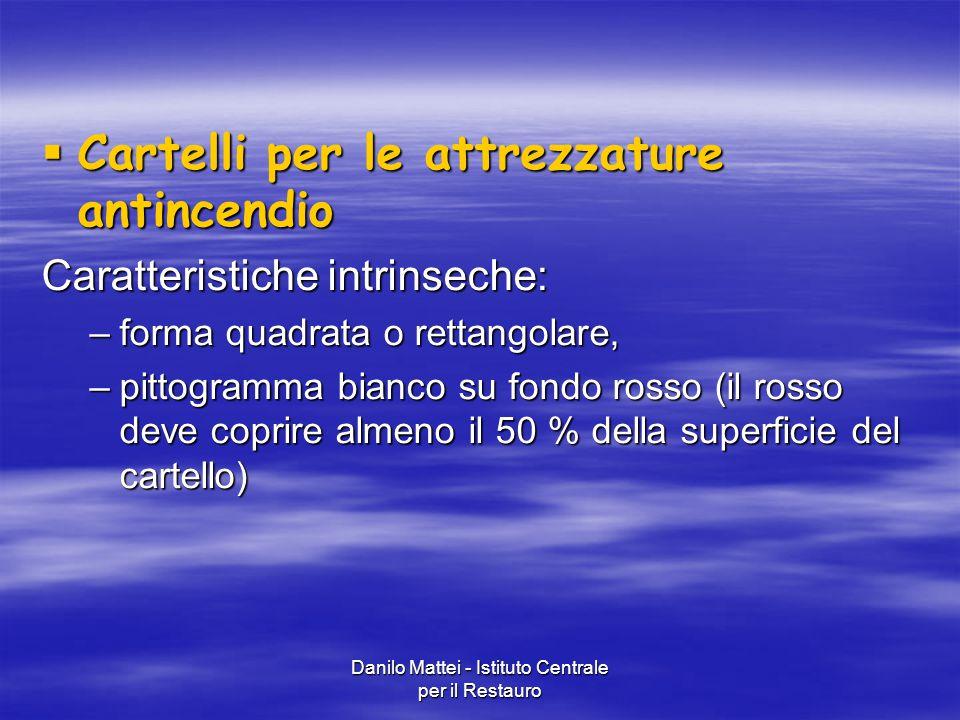 Danilo Mattei - Istituto Centrale per il Restauro  Cartelli per le attrezzature antincendio Caratteristiche intrinseche: –forma quadrata o rettangola