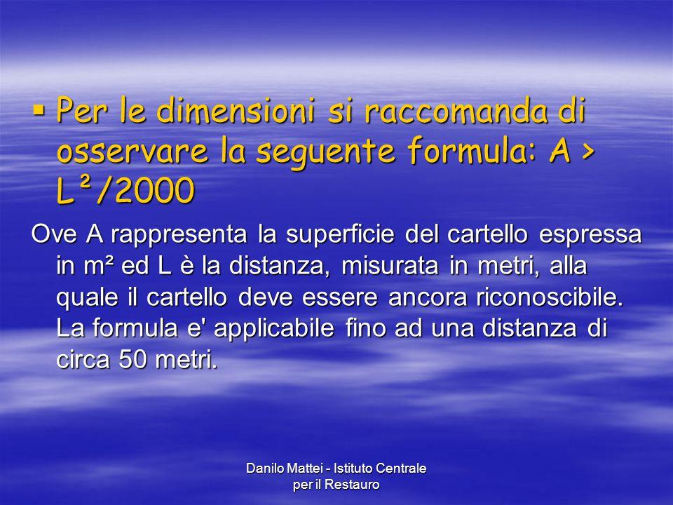 Danilo Mattei - Istituto Centrale per il Restauro  Per le dimensioni si raccomanda di osservare la seguente formula: A > L²/2000 Ove A rappresenta la