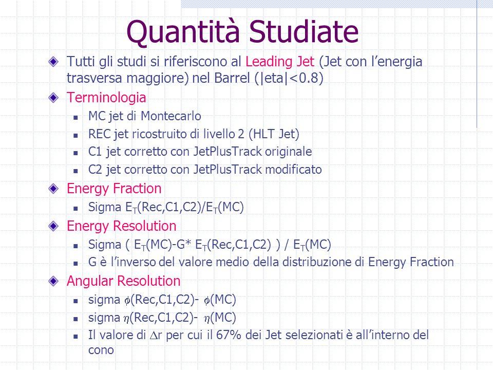 Quantità Studiate Tutti gli studi si riferiscono al Leading Jet (Jet con l'energia trasversa maggiore) nel Barrel (|eta|<0.8) Terminologia MC jet di M