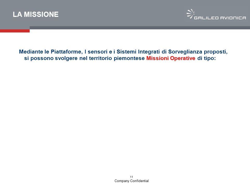 11 Company Confidential LA MISSIONE Missioni Operative Mediante le Piattaforme, I sensori e i Sistemi Integrati di Sorveglianza proposti, si possono s