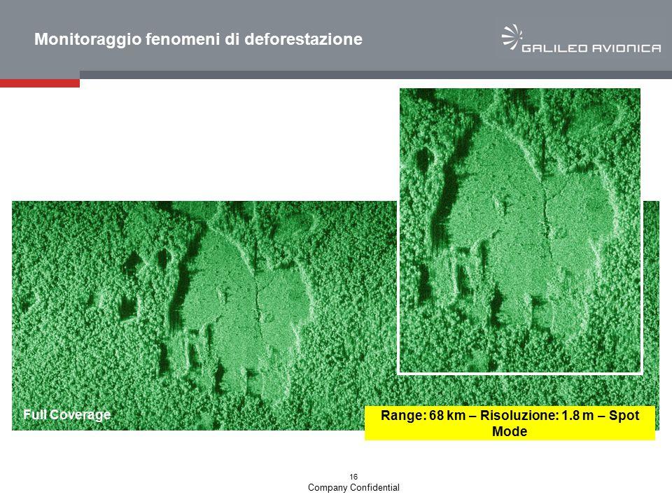 16 Company Confidential Full Coverage Range: 68 km – Risoluzione: 1.8 m – Spot Mode Monitoraggio fenomeni di deforestazione