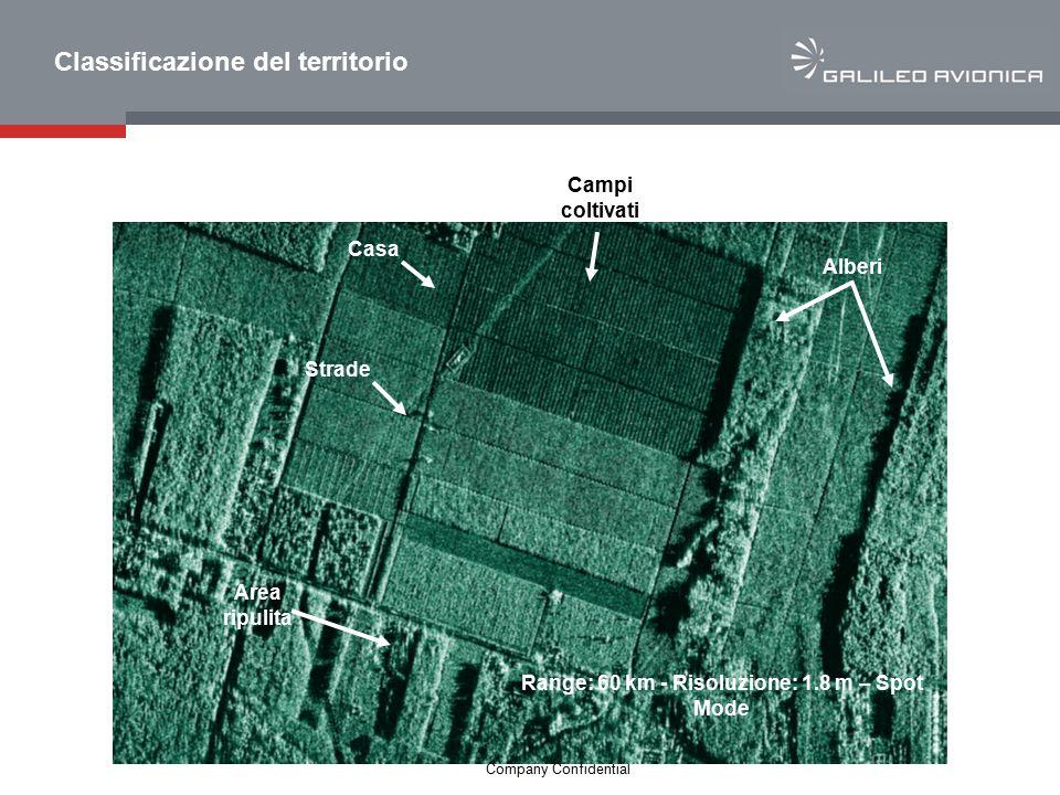 17 Company Confidential Area ripulita Strade Casa Campi coltivati Alberi Range: 60 km - Risoluzione: 1.8 m – Spot Mode Classificazione del territorio