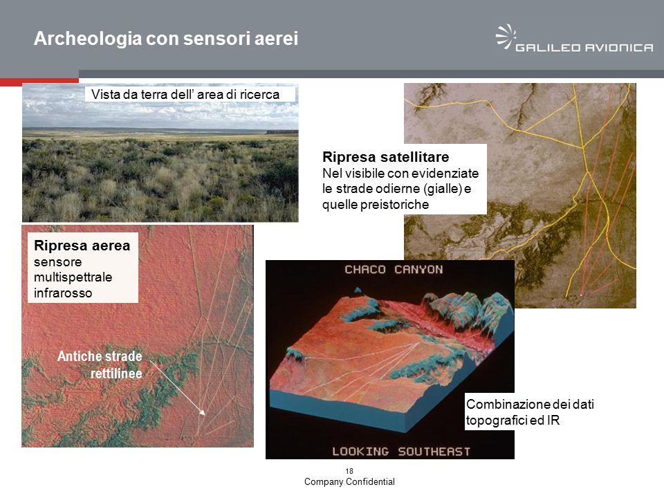 18 Company Confidential Archeologia con sensori aerei Vista da terra dell' area di ricerca Ripresa aerea sensore multispettrale infrarosso Ripresa sat