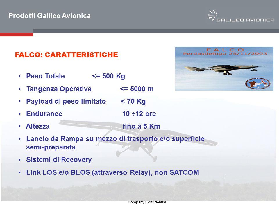 4 Company Confidential FALCO: CARATTERISTICHE Peso Totale <= 500 Kg Tangenza Operativa <= 5000 m Payload di peso limitato< 70 Kg Endurance 10 ÷12 ore