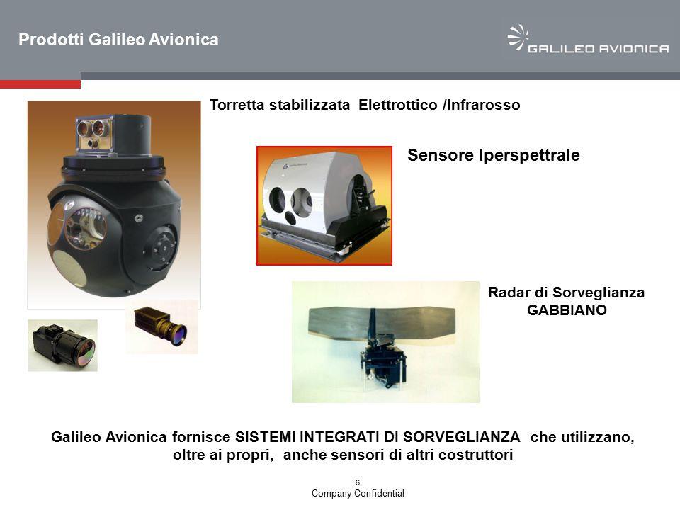 6 Company Confidential Torretta stabilizzata Elettrottico /Infrarosso Prodotti Galileo Avionica Sensore Iperspettrale Radar di Sorveglianza GABBIANO G