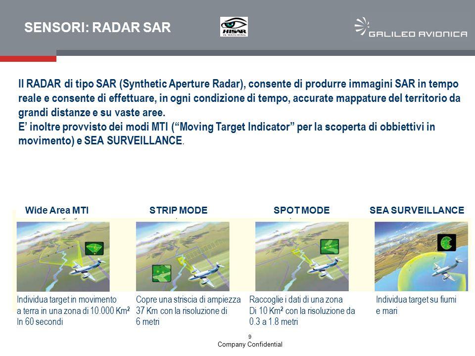 9 Company Confidential SENSORI: RADAR SAR Il RADAR di tipo SAR (Synthetic Aperture Radar), consente di produrre immagini SAR in tempo reale e consente