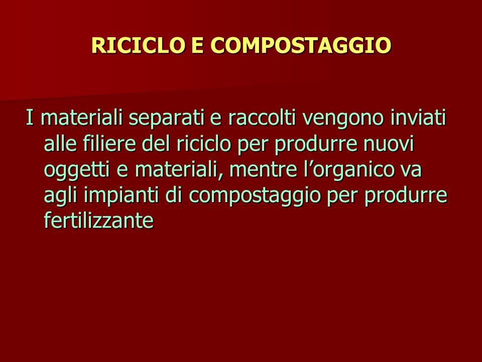 RICICLO E COMPOSTAGGIO I materiali separati e raccolti vengono inviati alle filiere del riciclo per produrre nuovi oggetti e materiali, mentre l'organico va agli impianti di compostaggio per produrre fertilizzante