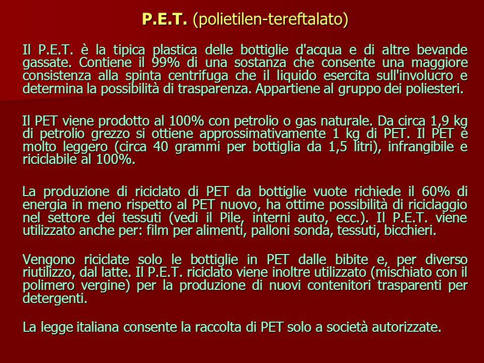 P.E.T.(polietilen-tereftalato) P.E.T. (polietilen-tereftalato) Il P.E.T.