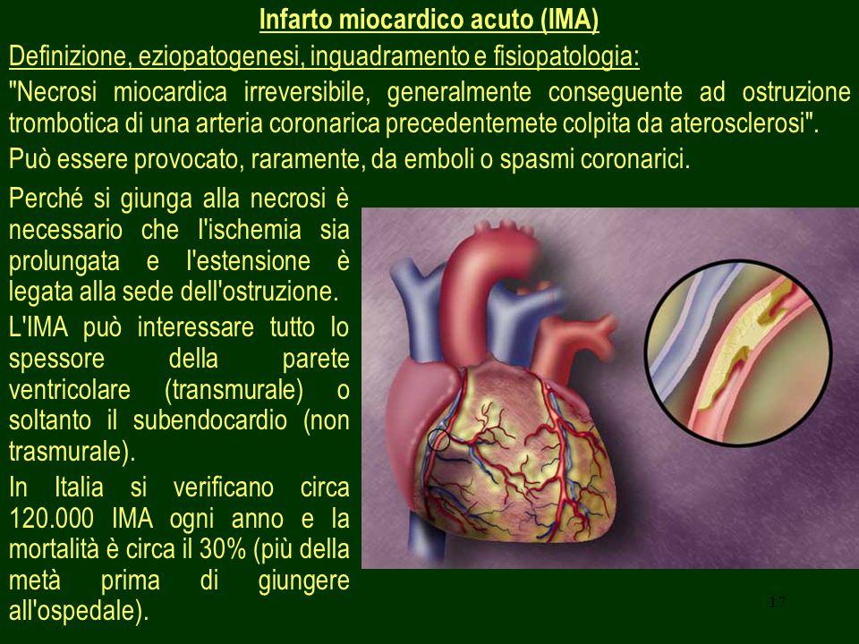 17 Infarto miocardico acuto (IMA) Definizione, eziopatogenesi, inguadramento e fisiopatologia: