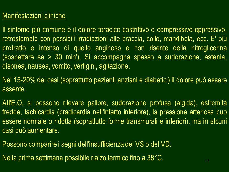 18 Manifestazioni cliniche Il sintomo più comune è il dolore toracico costrittivo o compressivo-oppressivo, retrosternale con possibili irradiazioni a