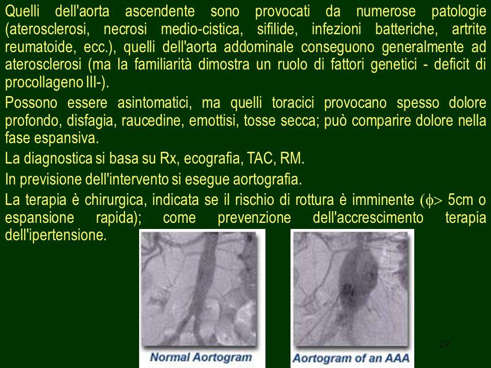 29 Quelli dell'aorta ascendente sono provocati da numerose patologie (aterosclerosi, necrosi medio-cistica, sifilide, infezioni batteriche, artrite re