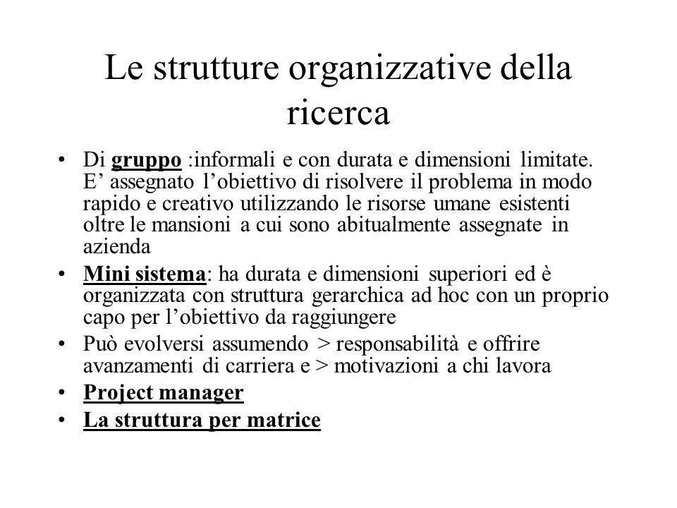 Le strutture organizzative della ricerca Di gruppo :informali e con durata e dimensioni limitate. E' assegnato l'obiettivo di risolvere il problema in