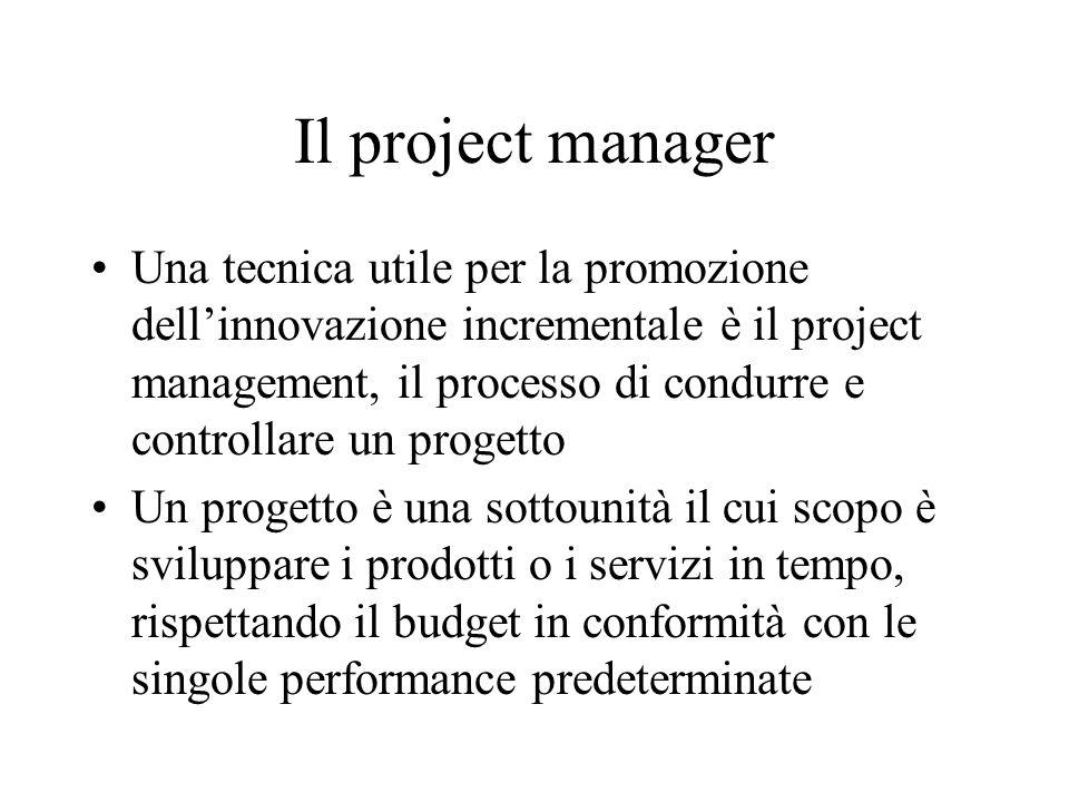 Il project manager Una tecnica utile per la promozione dell'innovazione incrementale è il project management, il processo di condurre e controllare un