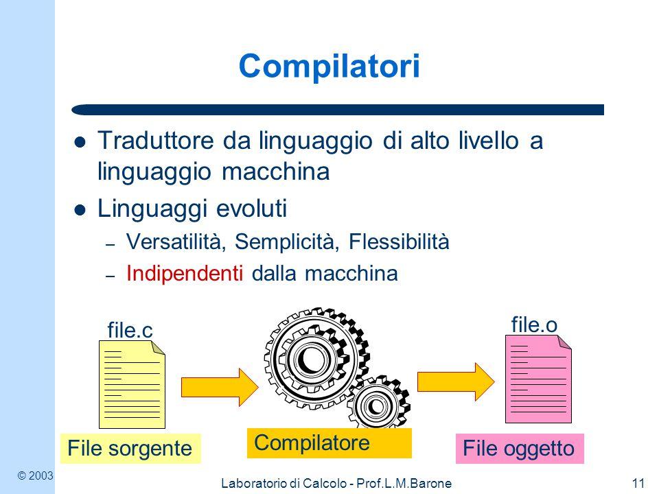 © 2003 Laboratorio di Calcolo - Prof.L.M.Barone11 Compilatori Traduttore da linguaggio di alto livello a linguaggio macchina Linguaggi evoluti – Versatilità, Semplicità, Flessibilità – Indipendenti dalla macchina file.c File sorgente file.o File oggetto Compilatore