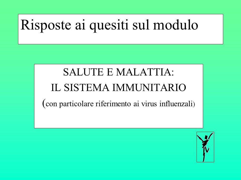 Risposte ai quesiti sul modulo SALUTE E MALATTIA: IL SISTEMA IMMUNITARIO ( con particolare riferimento ai virus influenzali )