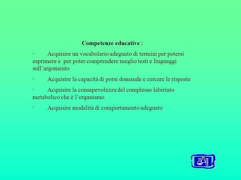 Competenze educative : · Acquisire un vocabolario adeguato di termini per potersi esprimere e per poter comprendere meglio testi e linguaggi sull'argomento · Acquisire la capacità di porsi domande e cercare le risposte · Acquisire la consapevolezza del complesso labirinto metabolico che è l'organismo · Acquisire modalità di comportamento adeguato
