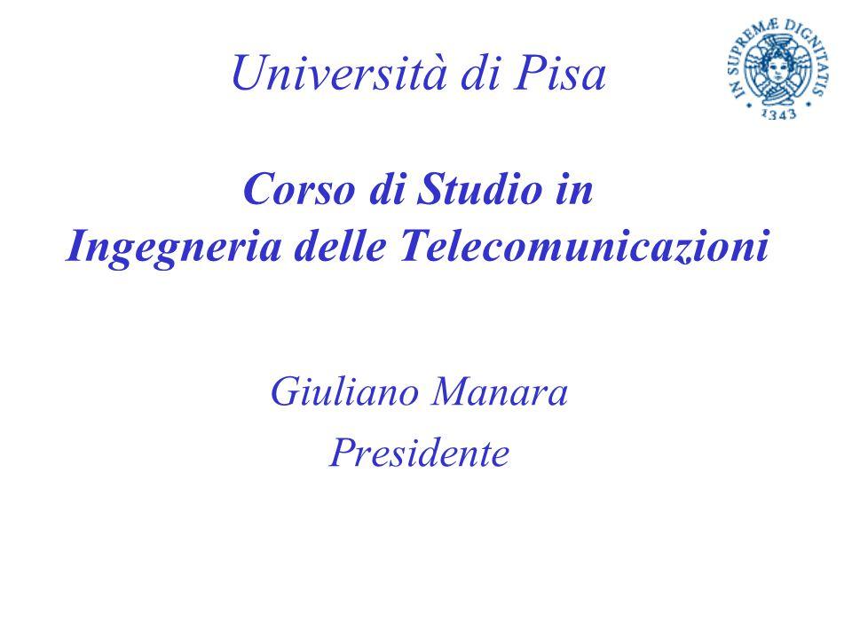 Università di Pisa Corso di Studio in Ingegneria delle Telecomunicazioni Giuliano Manara Presidente