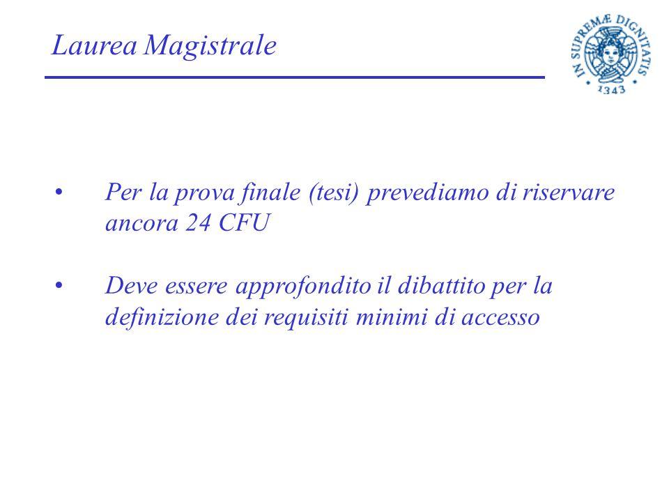 Laurea Magistrale Per la prova finale (tesi) prevediamo di riservare ancora 24 CFU Deve essere approfondito il dibattito per la definizione dei requis